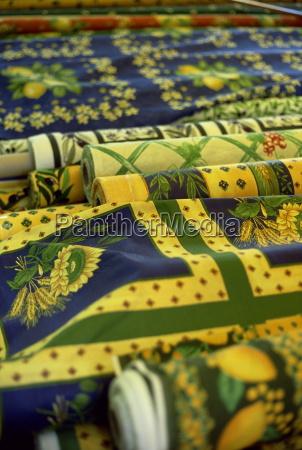 rolls of fabric market day salon