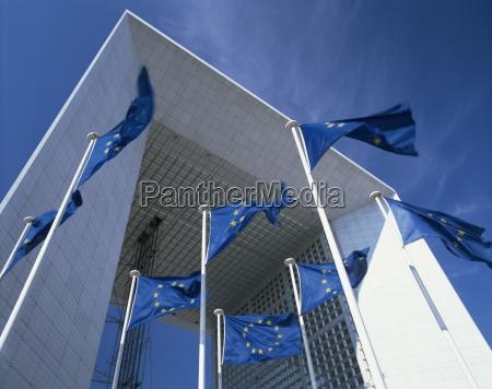 la grande arche and eu flags