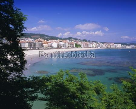 beach and town sanxenxo galicia spain