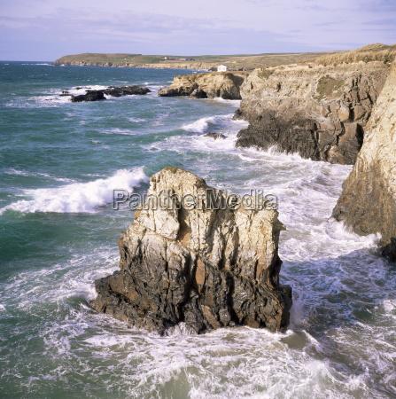 rocks and sea gwithian cornwall england