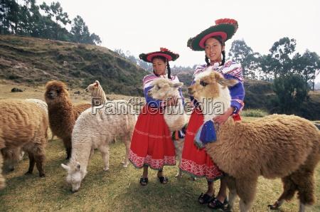 portrait of two peruvian girls in