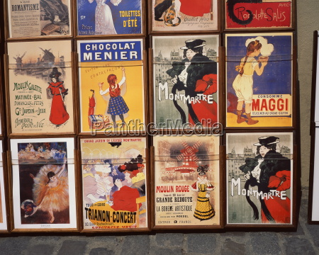 posters in montmartre paris france europe