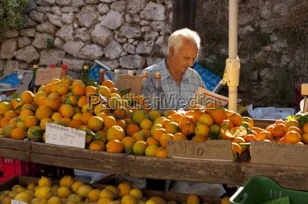 fruit seller chania market crete greek