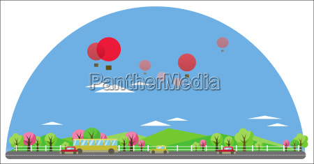 digital vector abstract background with village