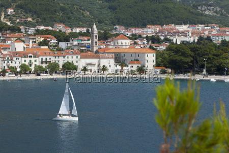 makarska harbour with yacht dalmatian coast