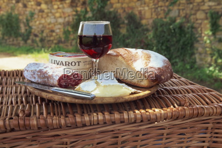 still life of bread cheese glass