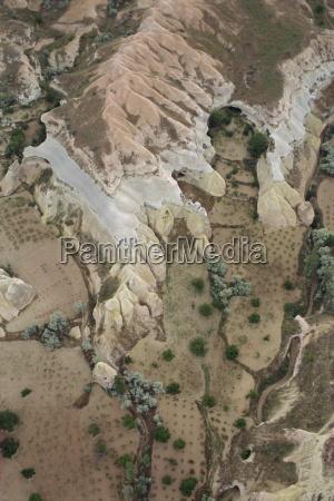 aerial view cappadocia anatolia turkey asia