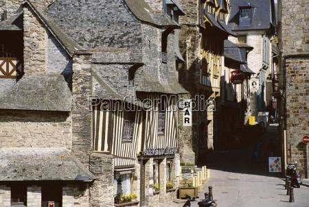 street scene old town vitre ille