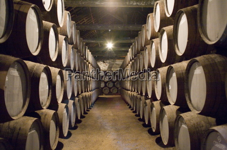 traditional port barrels in which tawny
