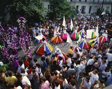 colourful parade at the notting hill