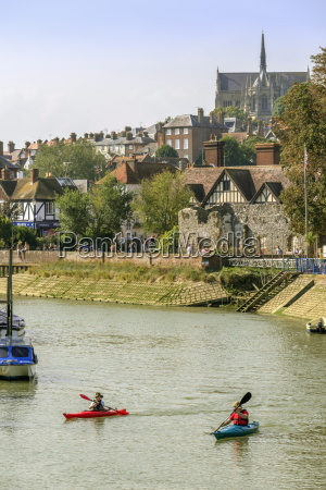 boats moored on the river arun