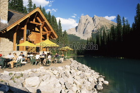 restaurant overlooking emerald lake with mount