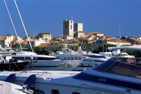 old town beyond yachts in port