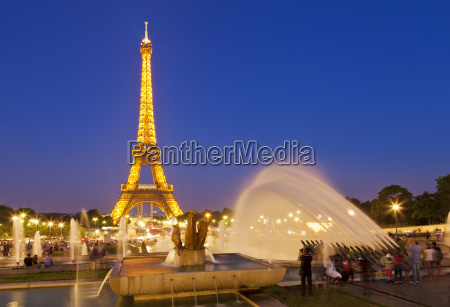 eiffel tower and the trocadero fountains