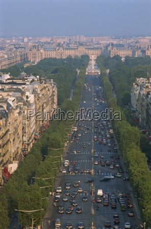 view over the champs elysees from