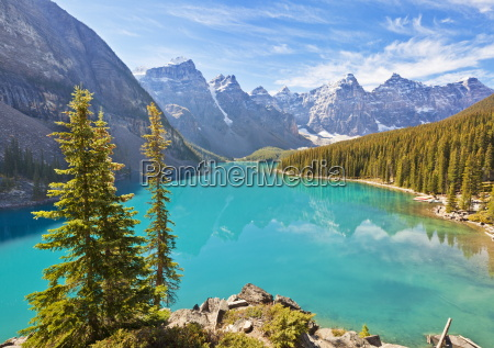 moraine lake in the valley of