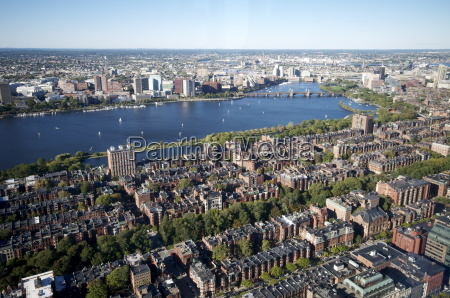 aerial view of boston from the
