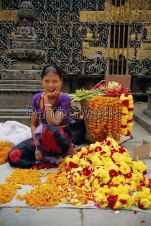 woman selling flowers asan tole buddhist