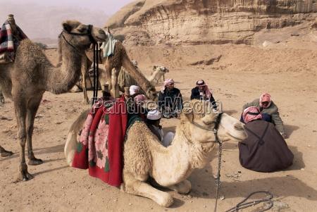 gruppe von beduinen und kamele wadi