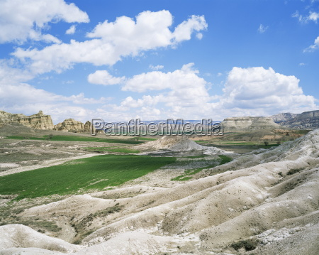 fields in a rocky landscape near