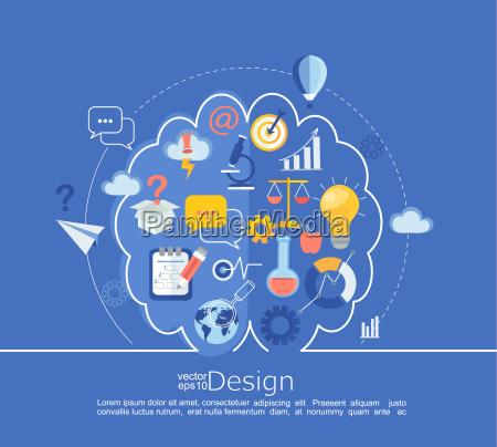 kreative, linke, und, rechte, gehirn-idea, infografik. - 20684451