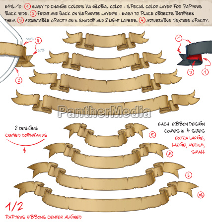papyrus ribbons curved downwards zwei