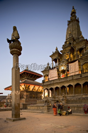 durbar square at dawn with garuda