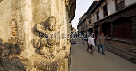 stone carving on corner of small