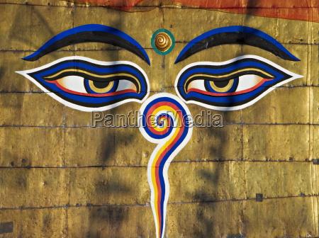 the eyes on the buddhist stupa