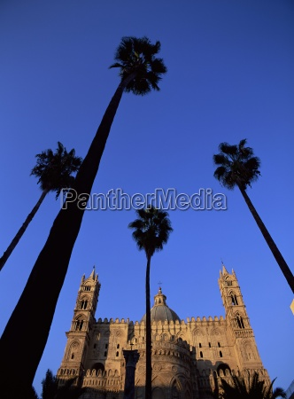 christian cathedral and palm trees palermo