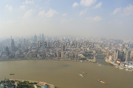 aerial view from oriental pearl tower
