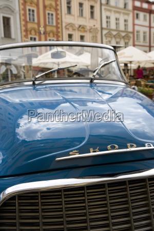 old blue skoda car old town