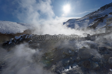 geothermal activity of mudpots hot springs