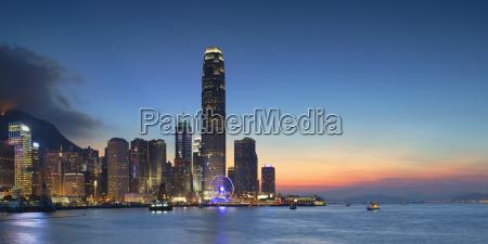 hong kong island skyline at dusk
