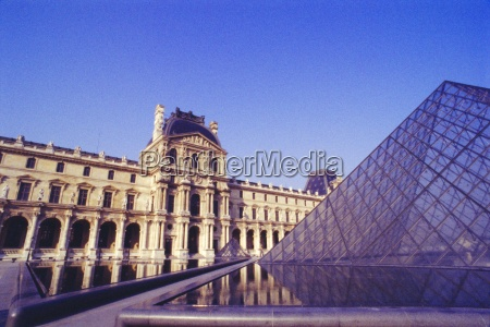 louvre and pyramid paris france