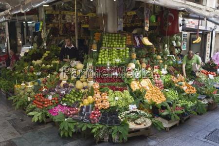 corner greengrocer shop fruit and vegetables