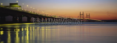 second severn crossing at dusk from