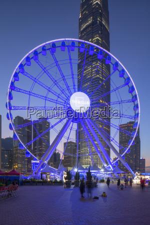 ferris wheel at dusk central hong
