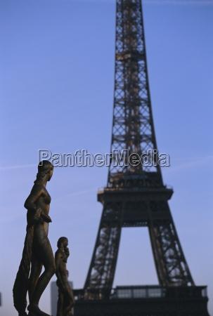 trocadero and eiffel tower paris france