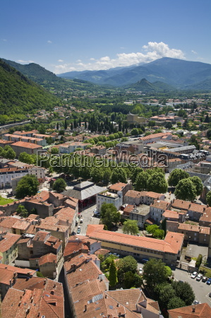 the town of foix from chateau