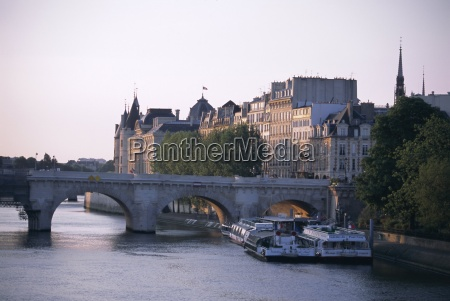 early morning river seine paris france