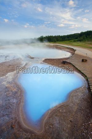 geothermal pools close to strokkur geyser