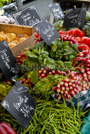 salad and vegatables on a market