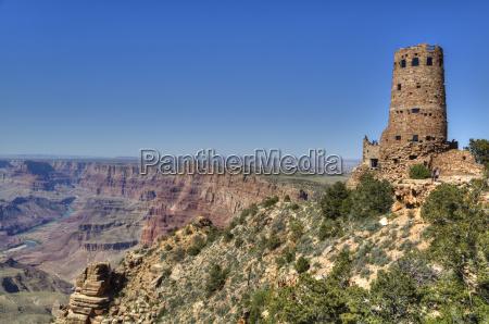 watch tower colorado river below desert