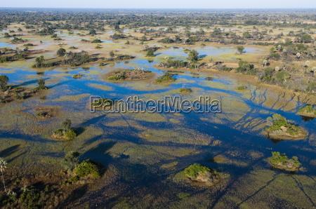 aerial view of okavango delta botswana