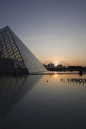 pyramid at louvre paris france europe