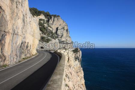 road along mediterranean sea savona italy