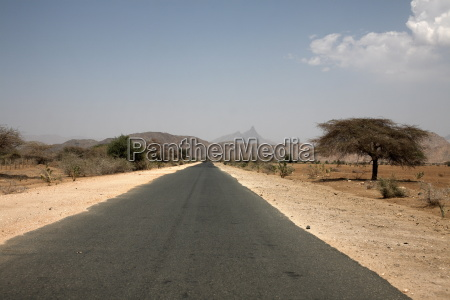 an empty road and the barren