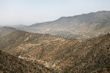 the mountainous landscape on the road
