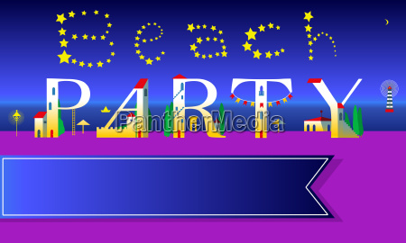 beach party invitation cute houses font